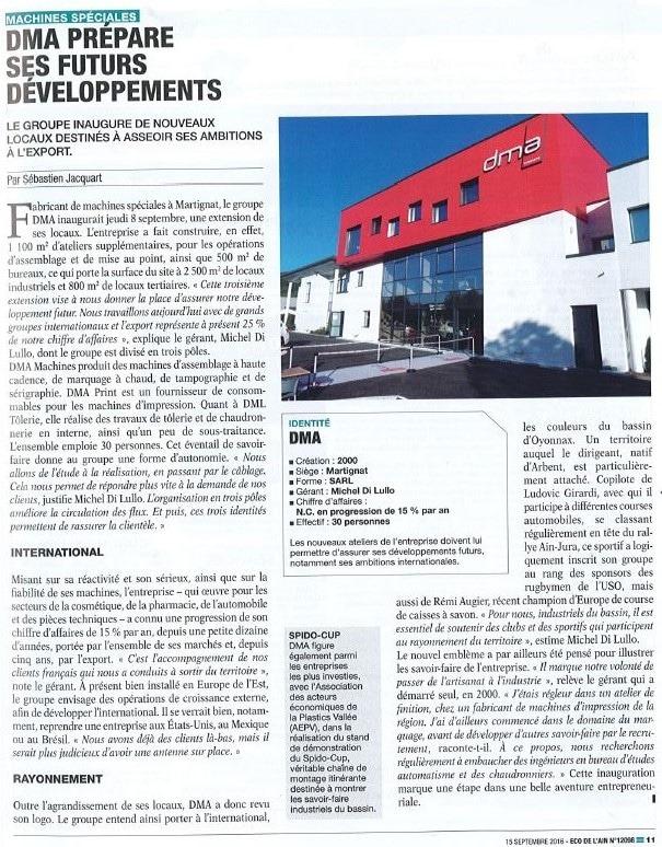 Presseartikel ECO DE L'AIN